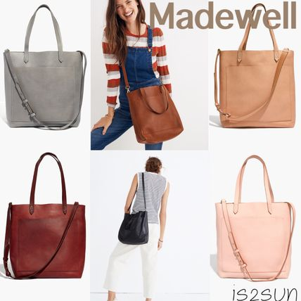Casual Style A4 2WAY Plain Leather Totes