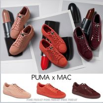PUMA SUEDE Round Toe Rubber Sole Casual Style Suede Collaboration Plain