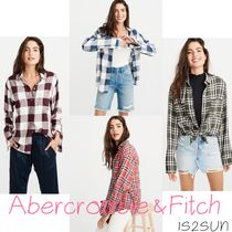Abercrombie & Fitch Gingham Other Check Patterns Casual Style Long Sleeves