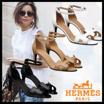 HERMES Open Toe Plain Leather Elegant Style Heeled Sandals