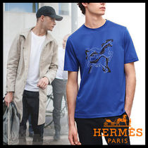 HERMES Henry Neck Cotton Short Sleeves Henley T-Shirts