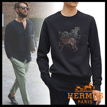 HERMES Crew Neck Cotton Crew Neck T-Shirts