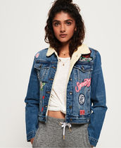 Superdry Short Casual Style Denim Street Style Denim Jackets Jackets