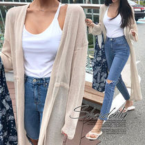 Casual Style Plain Long Cardigans