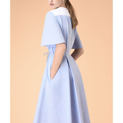 Casual Style A-line Plain Cotton Short Sleeves Dresses