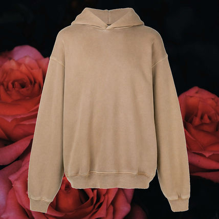 Yeezy Hoodies Pullovers Street Style Long Sleeves Plain Cotton Oversized
