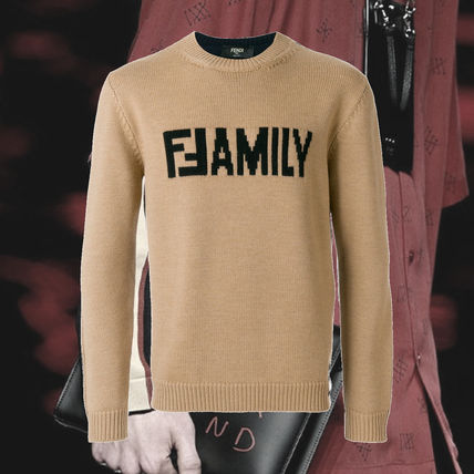 FENDI Knits & Sweaters Crew Neck Unisex Wool Street Style Long Sleeves Plain