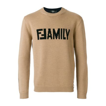 FENDI Knits & Sweaters Crew Neck Unisex Wool Street Style Long Sleeves Plain 2