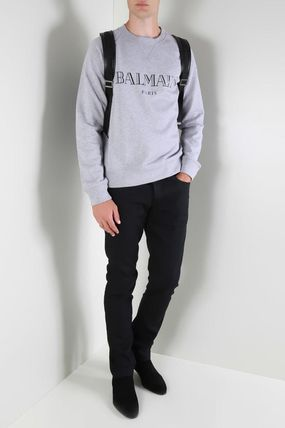 BALMAIN Sweatshirts Crew Neck Pullovers Street Style Long Sleeves Plain Cotton 6