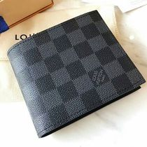 Louis Vuitton MARCO Other Check Patterns Canvas Street Style Folding Wallets