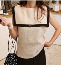 Casual Style Linen Sleeveless Street Style Bi-color Plain