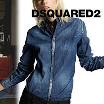 D SQUARED2 Casual Style Denim Long Sleeves Plain Shirts & Blouses