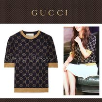 GUCCI Monogram Cotton Short Sleeves Elegant Style Sweaters