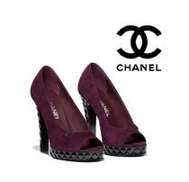 CHANEL Open Toe Suede Peep Toe Pumps & Mules