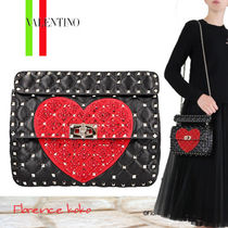 VALENTINO Heart Lambskin 2WAY Chain Party Style With Jewels