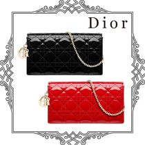 Christian Dior LADY DIOR Calfskin 2WAY Chain Plain Party Style Clutches