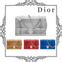 Christian Dior DIORAMA Calfskin 2WAY Chain Plain Party Style Clutches