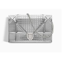Christian Dior DIORAMA Calfskin 2WAY Chain Plain Party Style Crossbody Clutches