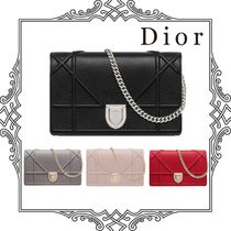 Christian Dior DIORAMA Calfskin 3WAY Chain Plain Party Style Clutches