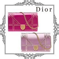 Christian Dior DIORAMA Calfskin Studded 2WAY Chain Plain Party Style Clutches