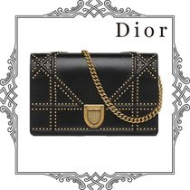 Christian Dior DIORAMA Lambskin Studded 2WAY Chain Plain Party Style Clutches