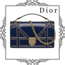 Christian Dior DIORAMA Calfskin Studded 3WAY Chain Plain Party Style Clutches