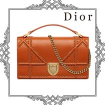 Christian Dior DIORAMA Lambskin Studded 3WAY Chain Plain Party Style Clutches