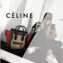 CELINE Luggage 2WAY Bi-color Plain Leather Elegant Style Handbags