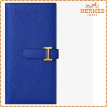HERMES Bearn Unisex Blended Fabrics Plain Leather Long Wallets