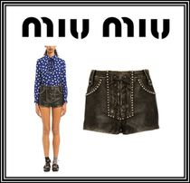 MiuMiu Short Casual Style Studded Plain Leather