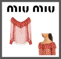 MiuMiu Flower Patterns Silk Boat Neck Long Sleeves Medium