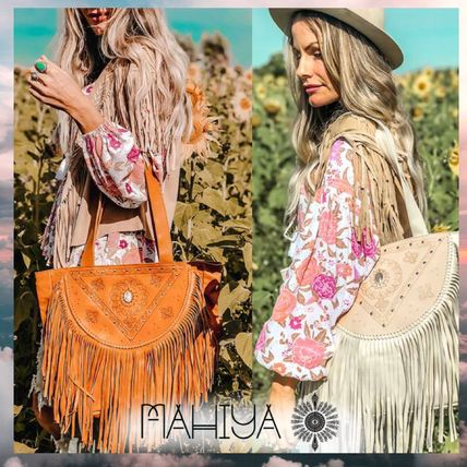 Casual Style Studded Leather Handmade Fringes Totes