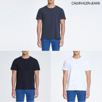 Calvin Klein Henry Neck Street Style Plain Cotton Short Sleeves