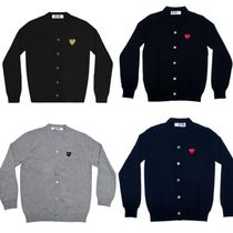 COMME des GARCONS Heart Unisex Wool U-Neck Long Sleeves Cardigans