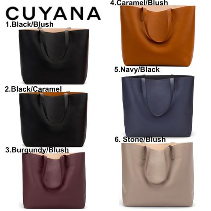 Casual Style A4 Plain Leather Totes