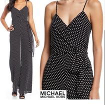 Michael Kors Dungarees Dots Sleeveless V-Neck Elegant Style Dresses
