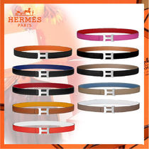 HERMES Casual Style Bi-color Plain Leather Belts