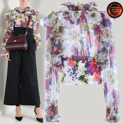 Crew Neck Short Flower Patterns Casual Style Silk
