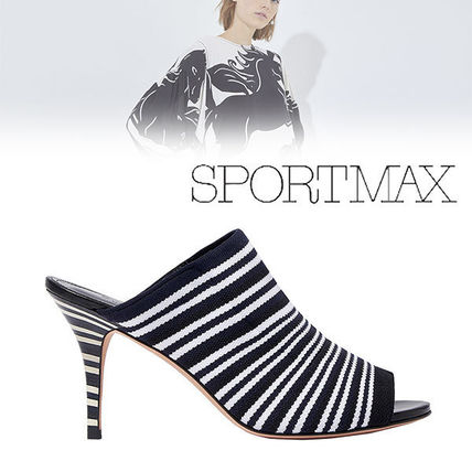 Stripes Sheepskin Heeled Sandals