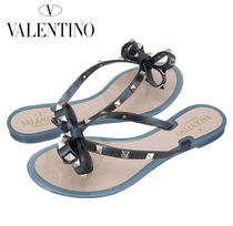 VALENTINO Casual Style Block Heels Flip Flops PVC Clothing