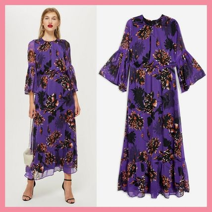 Crew Neck Flower Patterns Maxi Long Party Style Puff Sleeves