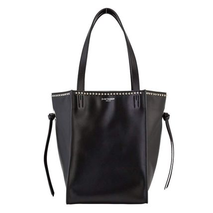 Casual Style Calfskin Studded Plain Totes