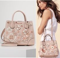 Michael Kors MERCER GALLERY Flower Patterns Studded 2WAY Leather With Jewels