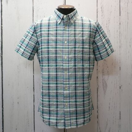 Button-down Gingham Street Style Cotton Short Sleeves Shirts
