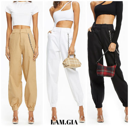 Casual Style Street Style Chain Plain Long Pants