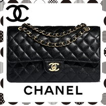 CHANEL Chain Plain Leather Elegant Style Handbags