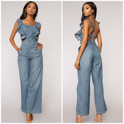 Casual Style Denim Flared Plain Dresses