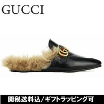 GUCCI Princetown Blended Fabrics Plain Leather Sandals