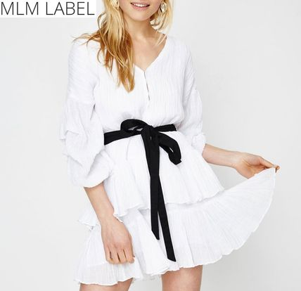 Short V-Neck Plain Cotton Party Style Puff Sleeves Dresses