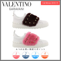 VALENTINO Round Toe Rubber Sole Casual Style Plain Leather